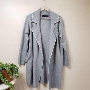 Zara Knit Long Light Weight Coat / Cardigan Gray